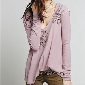 Free people small lilac oversized thermal top